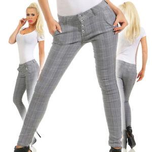 5401-2 Damen Karo Hose Treggings Business Karierte Damenhose Pants Simfit Knöpfe