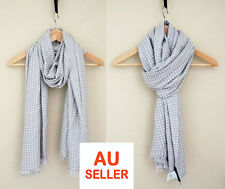 Elegant Mens Womens Super Soft Fringed Blanket Scarf Wool Pashmina Light Grey