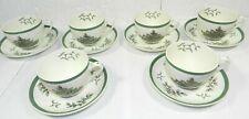 vtg Spode China Christmas Tree Cup & Saucer set 6 Cups & Saucers England