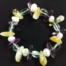 Braccialetto in Quarzo CITRINO FLUORITE e IALINO Bracciale con Perle Naturali