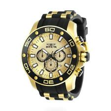 Invicta Pro Diver 26088 Men's Round Gold/Black Analog Chronograph Silicone Watch