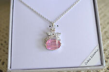 Pink Oval & Clear White CZ Pendant Silver Plated Necklace Gift Box
