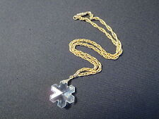 Crystal Snowflake Necklace Goldtone Chain Barrel Clasp Great Light Refraction