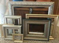 Vintage lot 7 PICTURE FRAMES Recycle Arts Crafts Project Deco gold ornate geo