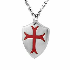 Knights Templar Cross Joshua 1:9 Shield Stainless Steel Pendant Necklace Silver