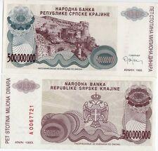 "CROATIA 4 PC REGIONAL ""KNIN FORTRESS"" 1993 BANKNOTE SET"