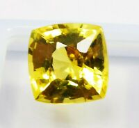 Natural CERTIFIED Cushion 12 Ct Yellow Sapphire Loose Gemstone