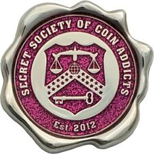 SSoCA Geocoin ­ The Pink Precious -Polished Nickel finish, Unactivated