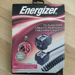 Energizer TTL Flash Cord for Canon, Nikon, Pentax, Fujifilm, and Samsung