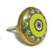 Verde y Oro Cerámica Armario Puerta Perilla Cajón Tire Mango de estilo vintage