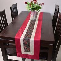 New Noble Classic Chinese Handmade Red Silk Long Table Runner Bed Flag 50x10''