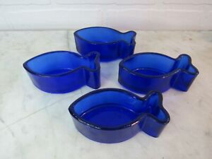 Cobalt Fish Snack Wasabi Soy Dishes NIB Pier One Imports NIB