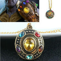For Marvel Avengers Thanos Infinity Stones Necklace Pendant Chain Metal Cosplay