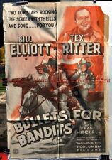 "Original 1953 BULLETS FOR BANDITS 27x41"" poster Wild Bill Elliott Tex Ritter"