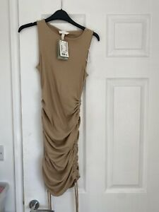 Brand New With Tag H&M Maternity Beige Fitted Ruched Dress