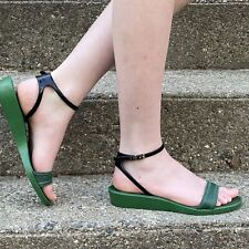 Chloe Green & Black Leather Upper Jelly Bottoms Sandals 37 US 7