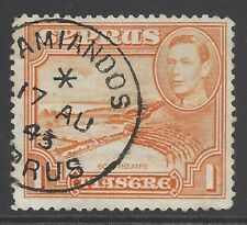 CYPRUS 1938 1pi orange superb used AMIANDOS rural cancel/postmark
