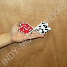 "C3 CORVETTE CROSSED FLAG METAL MAGNET EMBLEM ART 68-76 SIZE: 6"" x 2.5"" CROSSFLAG"