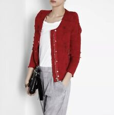 IRO Agnette Jacket Distressed Tweed Boucle in Red Size 1 36 / US 4 $600