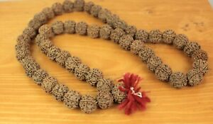 REAL LARGE Rudeaksha Rudraksha Mala Beads Prayer Meditation Necklace Handmade