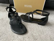 Michael Kors Black leather Felicity Thongs , sandals with flowers ,USA size 7.5