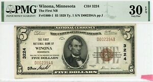 Winona, Minnesota  The First NB  $5 1929 Ty. 1  CH# 3224  PMG 30 EPQ