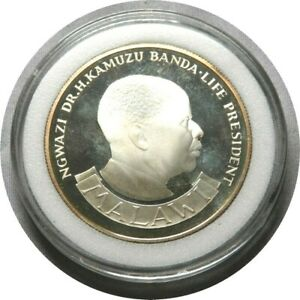 elf  Malawi 10 Kwacha 1974 Proof  Silver  Independence 10th