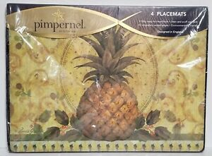 NEW Set of 4 Pimpernel 064 Golden Pineapple Cork Back Placemats