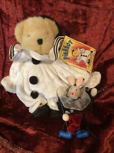 1995 NABCO Muffy VanderBear Teddy Bear Pierrot Marionette with mask and puppet