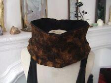 Snood col tour cache cou echarpe tube réversible polaire noir / tissu brun