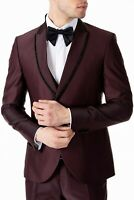 Jack Martin - Burgundy Satin Slim Fit 3 Piece Suit with Handmade Diamante Trim