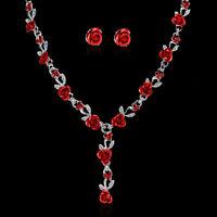 Chic Women Rose Flower Wedding Bridal Bride Jewelry Crystal Necklace Earring Set