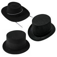 Adult Deluxe Black Top Hat Topper Victorian Ringmaster Lincoln Style Magic Hats
