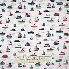 Nautical Fabric - Fly Aweigh Baby Tug Boat & Sailboat White - Riley Blake YARD