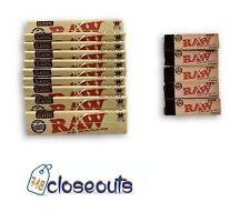 10 Packs Raw Classic King Size Slim Rolling Papers + 6 Packs Filter Tips Bundle