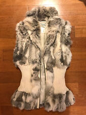 GUESS Genuine Rabbit Fur Cream Beige Gray Fitted Cardigan Sweater Vest Sz S EUC!