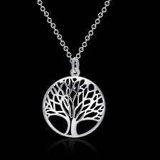 Womens Silver Tree of Life Pendant Necklace Jewellery Jewelry Chain Xmas Gift