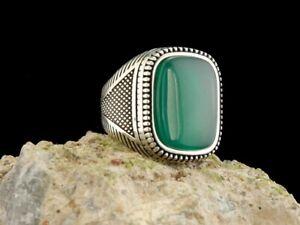 Handmade 925 Sterling Silver Men Ring Turkish Ottoman Style 9 Emerald Green