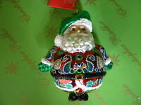Christopher Radko Santa Green Hat Glass Ornament