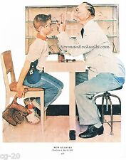 "Norman Rockwell print: ""NEW GLASSES"" or ""THE EXAMINATION"" Eye Doctor Optometrist"