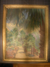 """Vintage Oil """"Path Thru the Palm Trees"""" by listed California Artist, W.R.Potter"""