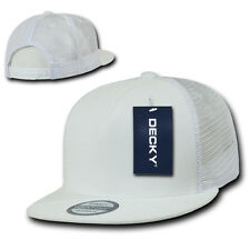 5 Panel Trucker Hat Flat Bill Mesh Cap Vtg Retro Plain Blank Snapback White eb9ad2e7e0a