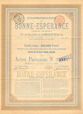 Charbonnages de Bonne-Esperance SA, accion pref., Lambusart, 1888 (Emsion 410)