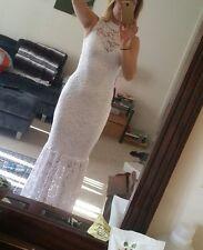 NWOT Bebe white lace dress mermaid skirt mock neck stretch formal wedding maxi S