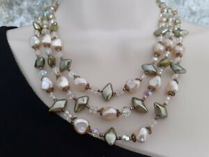 stunning vintage 1950s statement Necklace,  pearl and Aurora Borealis crystal