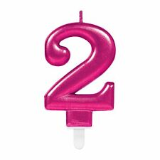 Sparkling Pink Metallic Candles No 2 Shiny Number Two Birthday Party Cake Topper