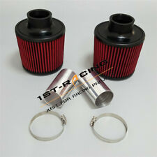 "Fit BMW 135/335/535/Z4 3.0L 2.25"" HiFLow Dual Cone Filter+Clamps+Adapter Pipes"