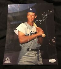 MAURY WILLS DODGERS SIGNED 8X10 PHOTO JSA Coa