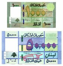 2016 two bills 50000 Livres + 10000 Livres  new date UNC Liban Libano