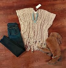 Elan USA Ladies Lace Up Crochet Fringe Sweater Dolman Sleeves Natural Taupe S-XL